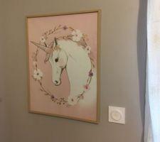 Tableau Licorne rose 47x60