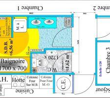 La machine à laver se trouvait dans les volumes 1 et 2 de la douche (Orange et Jaune). Le centre du volume 1 de 1,2 m de rayon est le point de raccord du flexible de la douche sur le mitigeur.