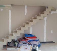 Pièce ce vie, vue sur l'escalier