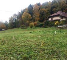 RDV d'implantation avec MO pour visualiser la maison au sol sur le terrain vue sud est