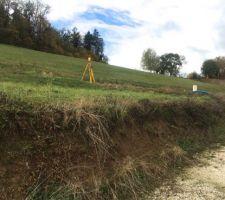 RDV d'implantation avec MO pour visualiser la maison au sol sur le terrain vue nord ouest (depuis la fin de la zone de servitude qui sera notre chemin d'accès)