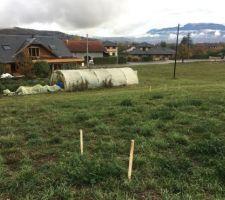 RDV d'implantation avec MO pour visualiser la maison au sol sur le terrain vue nord