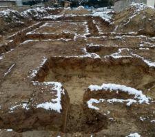 Cela va faire un mois que les fouilles ont été réalisées (25 Octobre)et depuis plus rien!!!  Le chantier est à l'arrêt car la commande pour les fondations n'a pas été faite. Pluie, neige, vent... la nature a horreur du vide, les tranchée s'effritent.