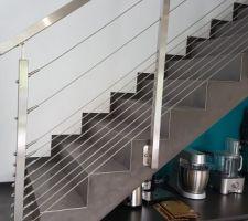 Garde corps de l'escalier installé