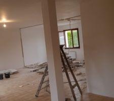 Demolition des cloisons du bas pour agrandissement de la piece a vivre (vue depuis la cuisine)