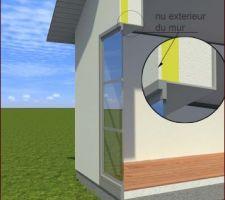 Pose de fenêtre en nu extérieur
