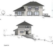 Coupe façade Sud et façade Est dessin par Maisons Oxygene Extrait dossier permis de construire