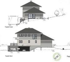 Coupe façade Ouest et façade Nord dessin par Maisons Oxygene Extrait dossier permis de construire