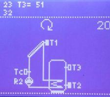 Régulateur solaire. T1=sonde panneaux themique. T2=sonde basse du ballon. T3=sonde haute du ballon