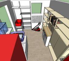 Simulation sous sketchup de l'aménagement du cellier