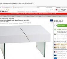 Table basse repérée 75x75 avec pied en verre