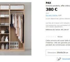 Idee pour le dressing suite parentale : 2 armoires PAX, une pour monsieur, une pour madame