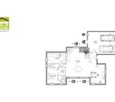 Plan du rez de chaussée avec quelques modifications minime apportées comme par exemple un cellier buanderie fermé tout le fond du garage et une cuisine fermé par une verrière