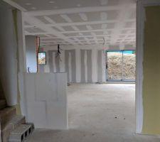 Vue depuis l'entrée - carreaux de plâtre posés en attente de la verrière.