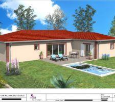 Vue principale de la maison. La piscine sera implantée différemment mais ce n'est qu'un détail. La couleur du toit sera moins rouge, les encadrements en brique également et les volets (et VR ?) devraient être bleus.