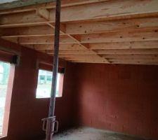 Charpente toit plat de la chambre rdc