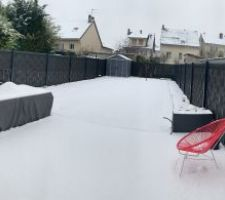 Premières neiges sur le jardin