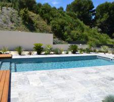 Terrasse travertin + bois piscine