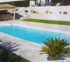 Terrasse travertin piscine