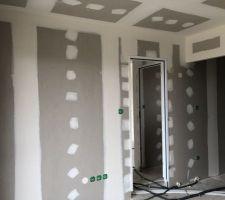Chambre parentale RDC- Dressing à droite, salle de douche à gauche