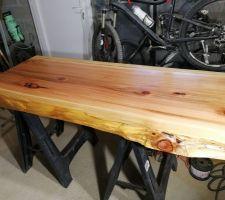 Réalisation plan de vasque en sequoia