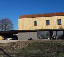 Bardage bois et Eternit fini! façade Sud