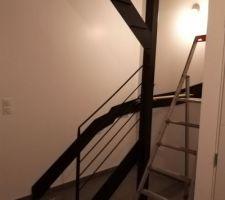 Escalier en cours. Double limon noir.