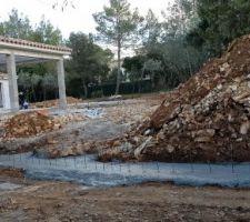 Fondation mur de soutènement coulée