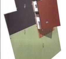 Implantation de la maison sur le terrain avec côte