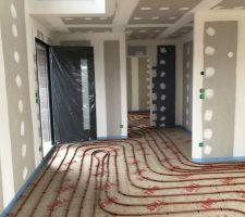 07/02/2019 : Pose de l'isolant de sol & du plancher chauffant- Entrée
