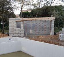 Elevation des murs du poolhouse