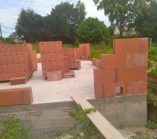 démarrage de la pose  des briques <br />  <br /> manque de colle pour la pose et retrait important de la dalle  <br />  <br /> pas de problème pour le constructeur