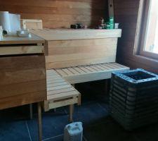 Poêle du sauna placé
