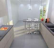 Le plan de la cuisine de l'intérieur vers l'extérieur