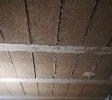 Pose étais et madrier ep 10x10 avec cales en haut et en bas. Ico vue sur la partie haute du plafond....poutrelles