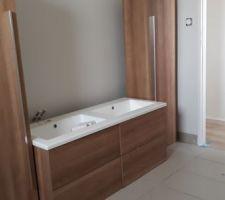 Les meubles sont à leur place, plus qu'à les fixer ! Nous avons également peint les murs en gris clair (peinture spéciale salle de bain) maos on ne le voit pas trop sur les photos ^^