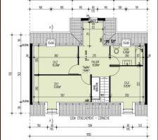 Voici le plan du 1er étage. Nous voulons faire une chambre parentale avec la chambre n°2 et une partie du palier. Dés qu'on a la validation du plan par Maisons Pierre je vous la mettrais en ligne les modifications