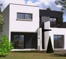"""Nous voulions une maison moderne mais pas """"basique"""". Nous avons beaucoup hésité entre une toiture plate, une quatre pents, une maison cubique etc... nous ne savions  pas vraiment ce que nous voulions et quand le constructeur nous a présenté ce plan, nous avons eu le coup de c?ur pour cette maison au style ultra moderne. Nous avons beaucoup aimé l'association des couleurs et des matériaux qui seront utilisés ainsi que la forme de la maison simple mais peu banale ( pierre en façade, terrasse dans la chambre parentale, effet de profondeur etc...)."""