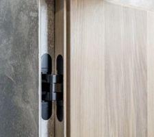 Idée de mettre une porte invisible au même niveau que le rangement dans le séjour pour accéder à notre chambre parentale (avec des gonds encastrés, non apparents)