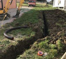 03.03.19 week-end à fond !!  Tranchée raccordement eau et électricité  Nous avons enfin l eau !! Youpi Mise en place de la terre