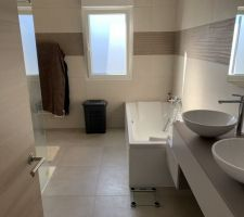 Salle de bain principale avec baignoire, douche et double vasque
