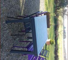 Nouveau salon de jardin. On va acheter 2 nouvelles chaises turquoises.