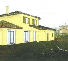 Une vue 3D de notre future maison réalisée par le constructeur. Les couleurs ne sont pas les bonnes (façade, volets) mais ça donne une bonne idée de l'ensemble.