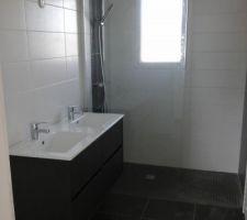Installation de la salle de bain (meuble, douche ?). Ne manque plus que le miroir.
