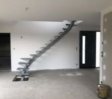 06/03/2019 : Pose du limon central de l'escalier.