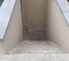 Vue de l'enduit de l'escalier extérieur