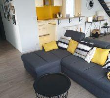 Salon 2.0 avec nouveau canapé, nouveaux coussins et nouvelle table basse. arrière plan cuisine et couloir d'entrée