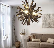 Idée lustre pour suite parentale nature et bois