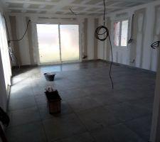 Le carrelage est le même dans toute la maison sauf les chambres qui auront du stratifié.  C'est un carrelage en 60X60.
