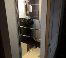 Nouvelle porte de douche Porte semi-pivotante effet miroir